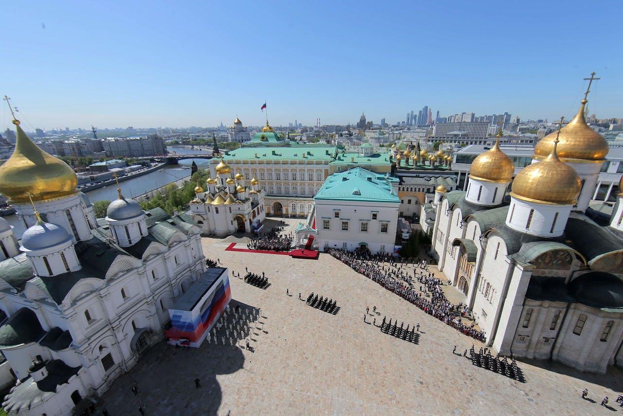 Het Kremlin tijdens de inauguratie van Vladimir Poetin.