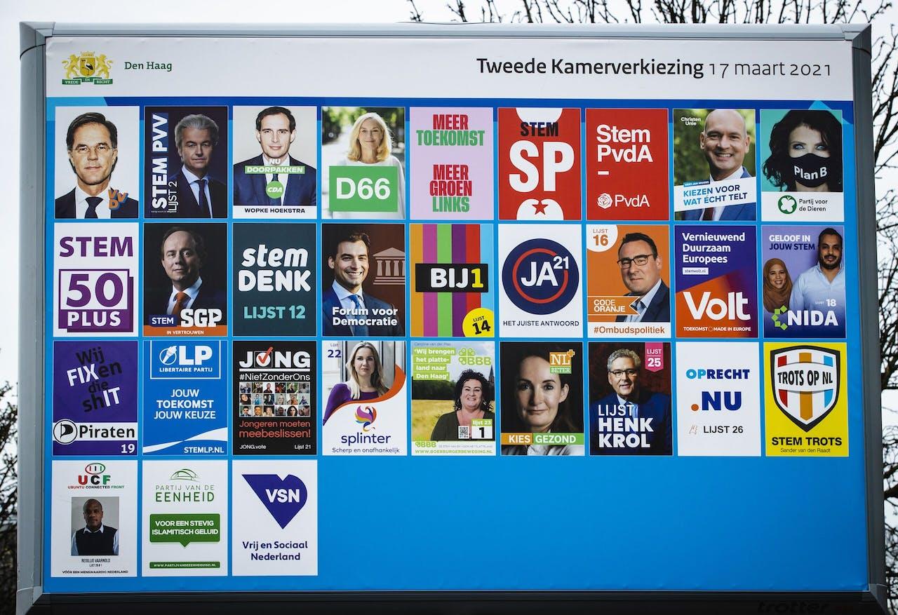 Een verkiezingsbord in het centrum van Den Haag