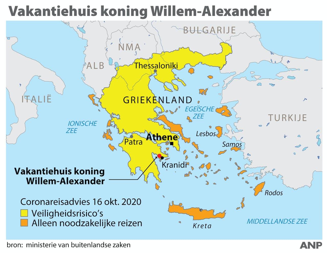 Eergernis over vakantie koning Willem-Alexander naar Griekenland.. Locatie vakantiehuis Nederlandse koninklijke familie + reisadviezen corona. ANP INFOGRAPHICS