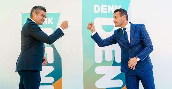 Tunahan Kuzu (L) en Farid Azarkan na afloop van een ledenvergadering van DENK