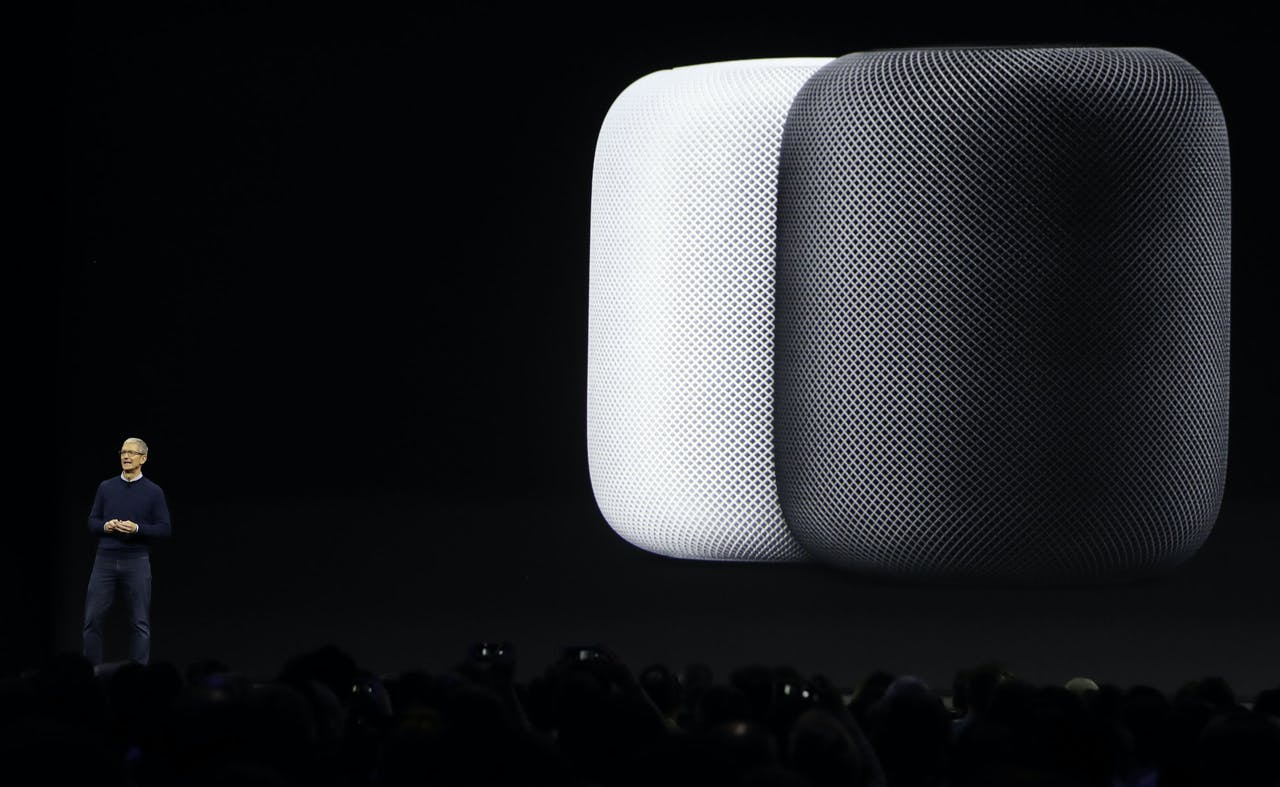 De HomePod van Apple werd op 5 juni 2017 gepresenteerd door CEO Tim Cook.