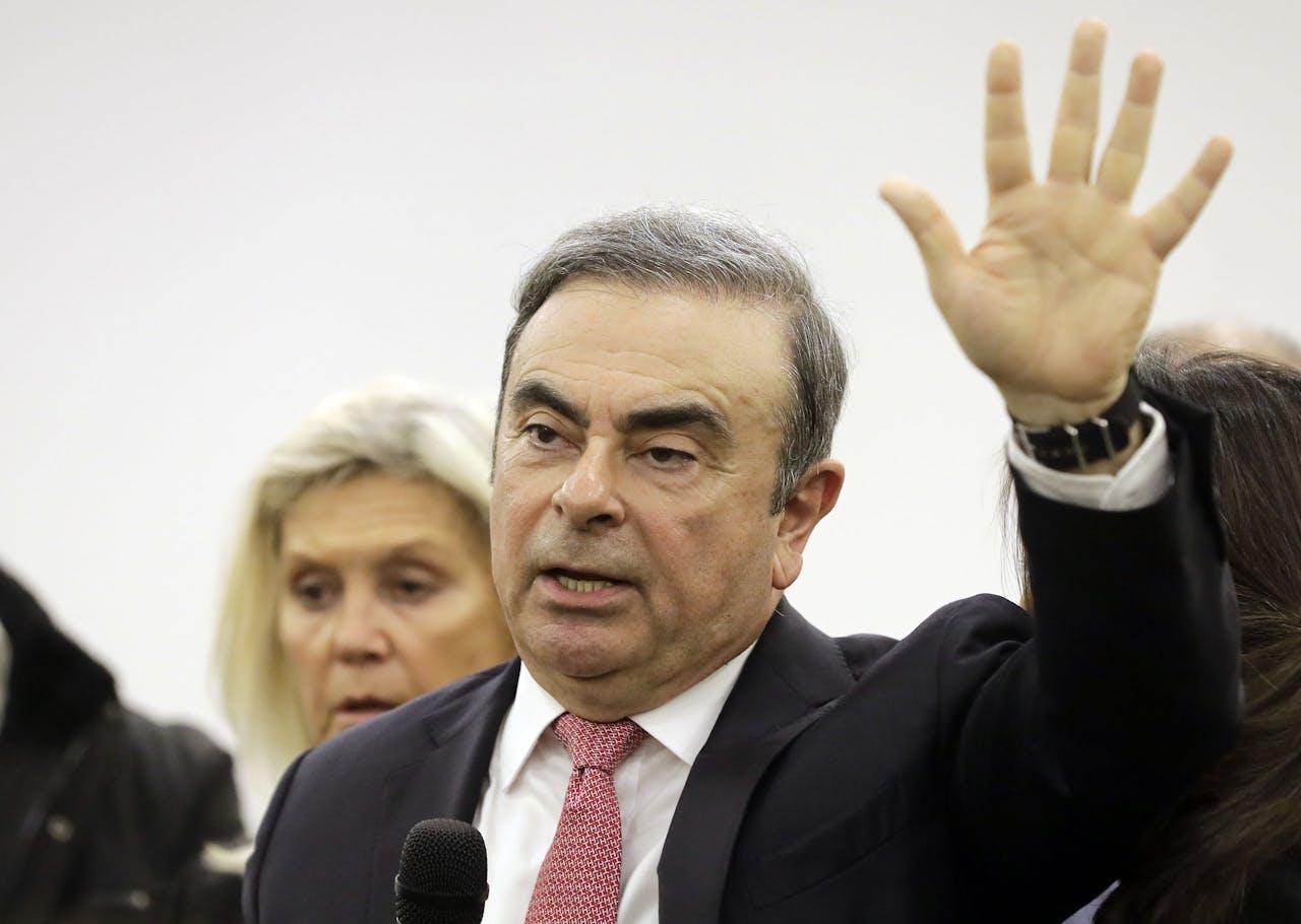 Carlos Ghosn , voormalig CEO van Renault-Nissan, tijdens zijn persconferentie in Beiroet