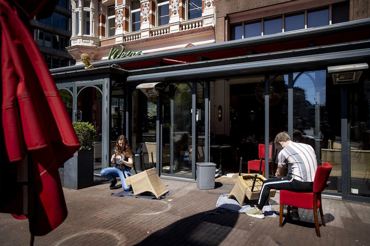Lege terrassen in Amsterdam