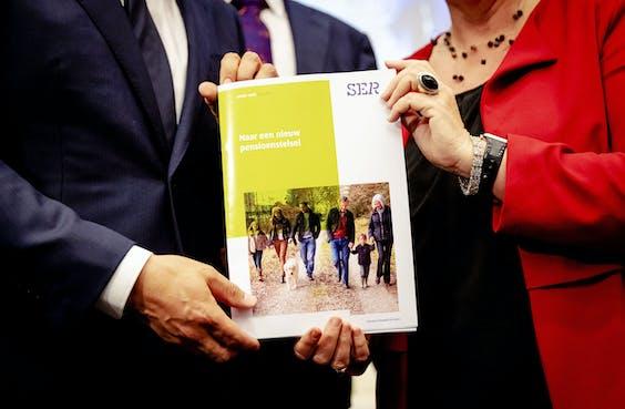 De presentatie van de vernieuwing van het pensioenstelsel.