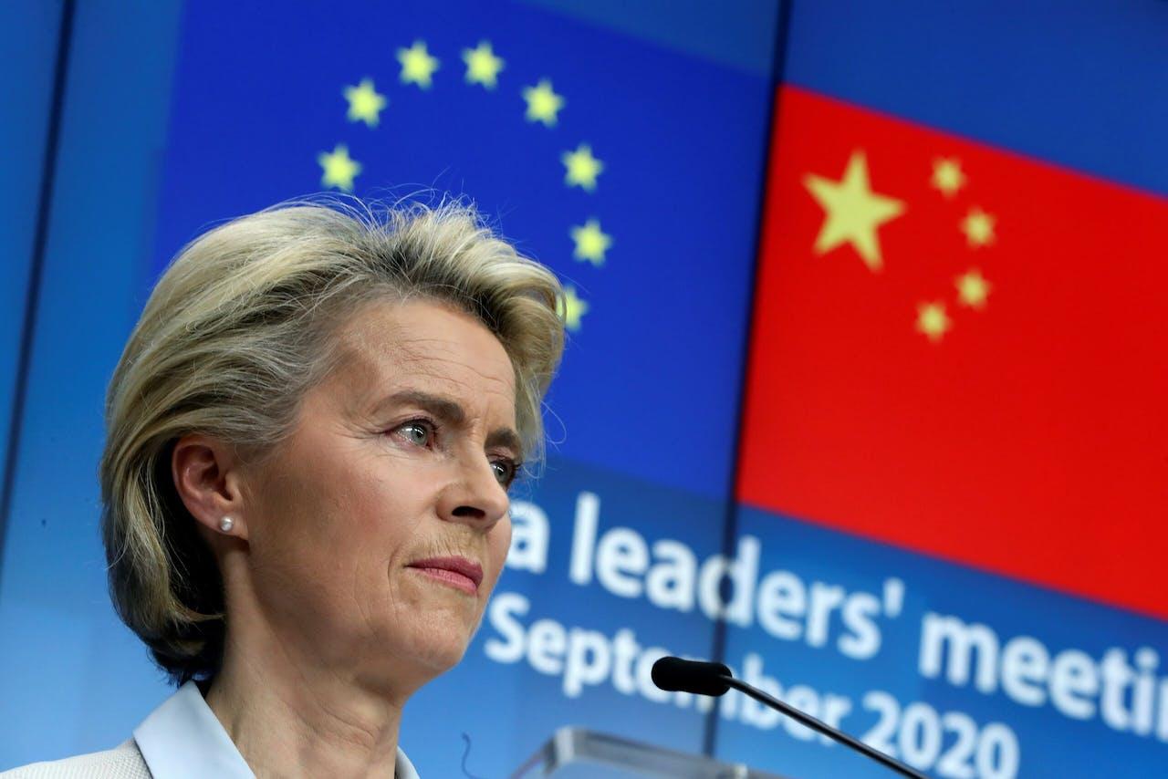 Commissie voorzitte Ursula von der Leyen na afloop van de virtuele top met Chinese president Xi Jinping.