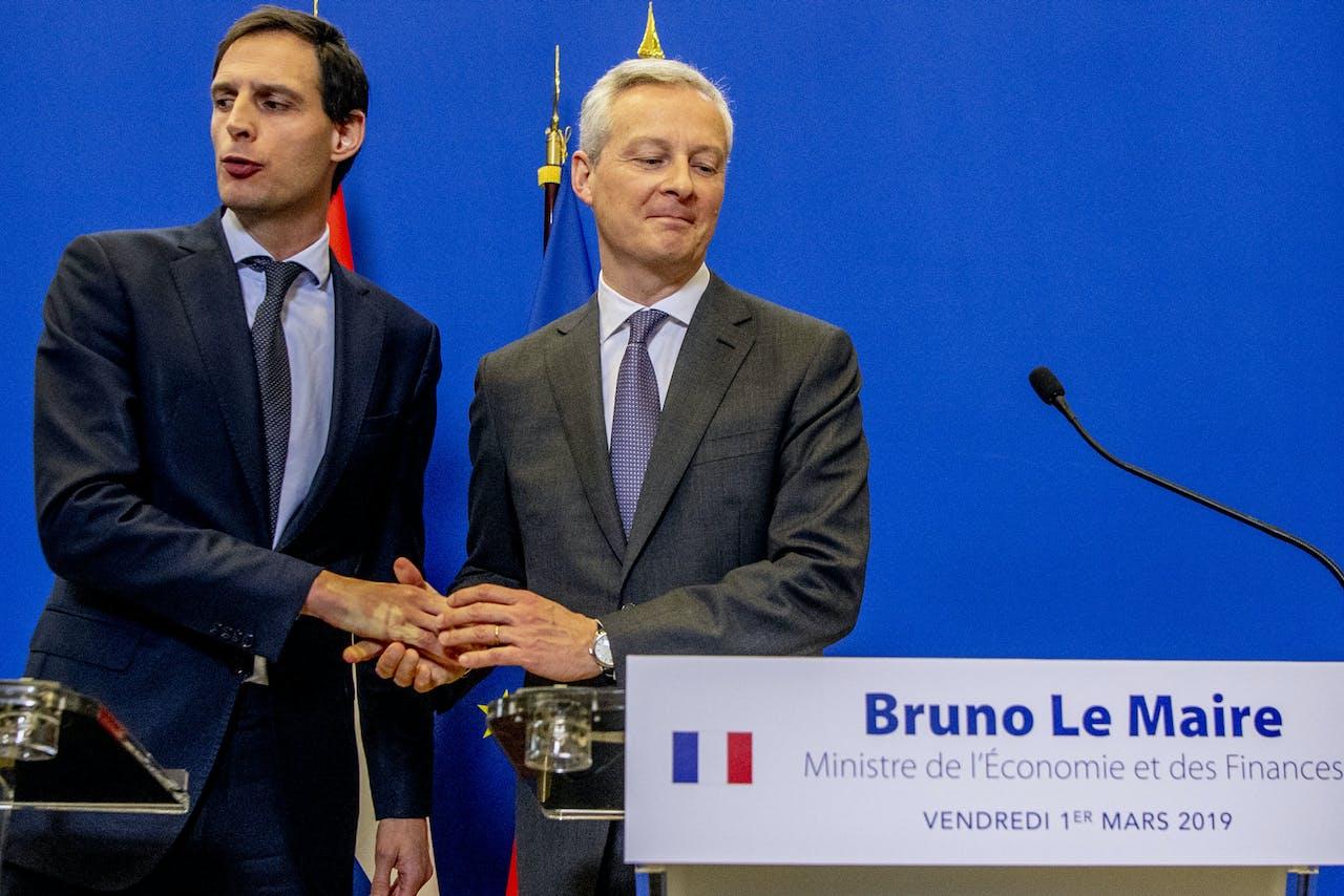 Minister Wopke Hoekstra van Financien na de ontmoeting van de Franse ambtsgenoot Bruno Le Maire. Zij troffen elkaar vorig jaar om de situatie te bespreken.