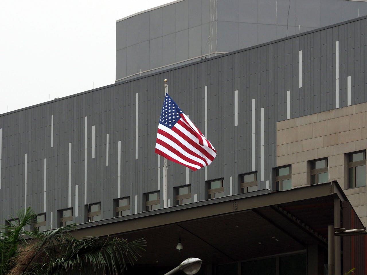 De Amerikaanse vlag op het American Institute in Taiwan