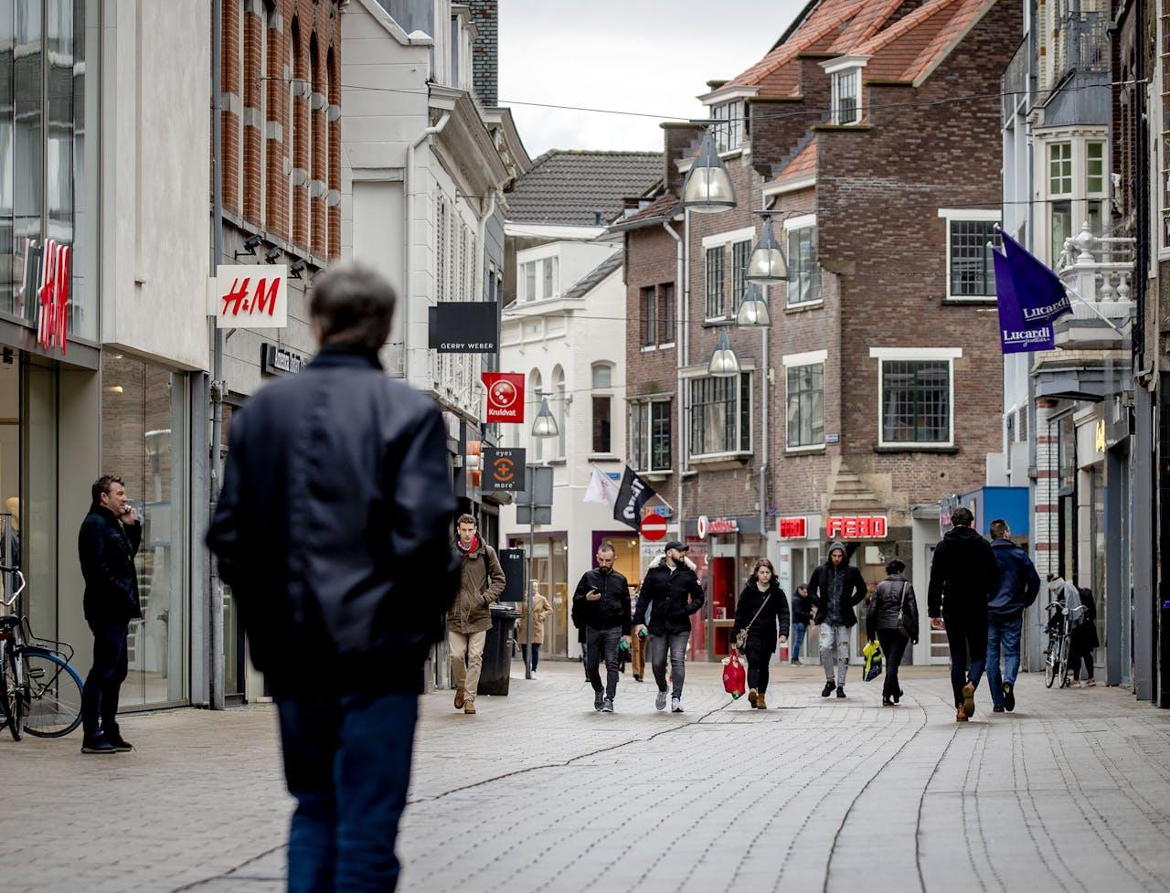 Een winkelstraat in het centrum van Tilburg.