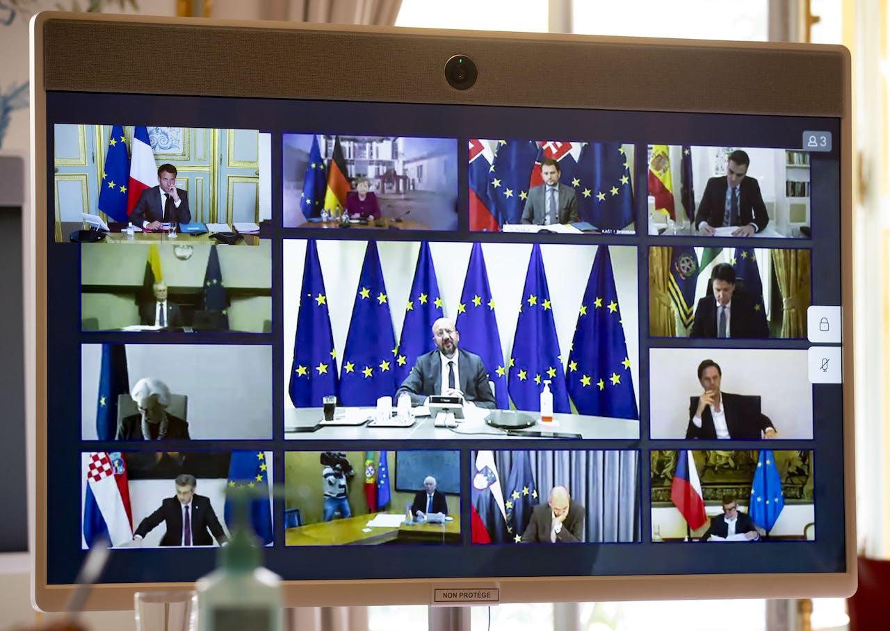 Europese leiders tijdens vierde videoconferentie in zes weken tijd.