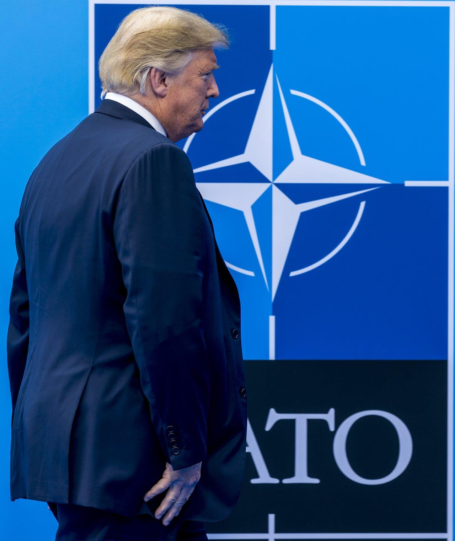 President van de Verenigde Staten Donald Trump op de tweedaagse NAVO-bijeenkomst in Brussel.
