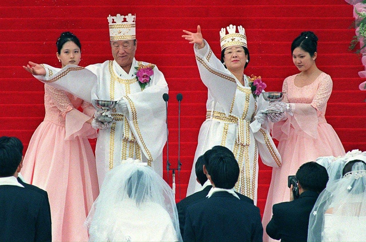 Huwelijksvoltrekking van leden van de Moonsekte in Seoel MO/cyk/ca/vg/kr