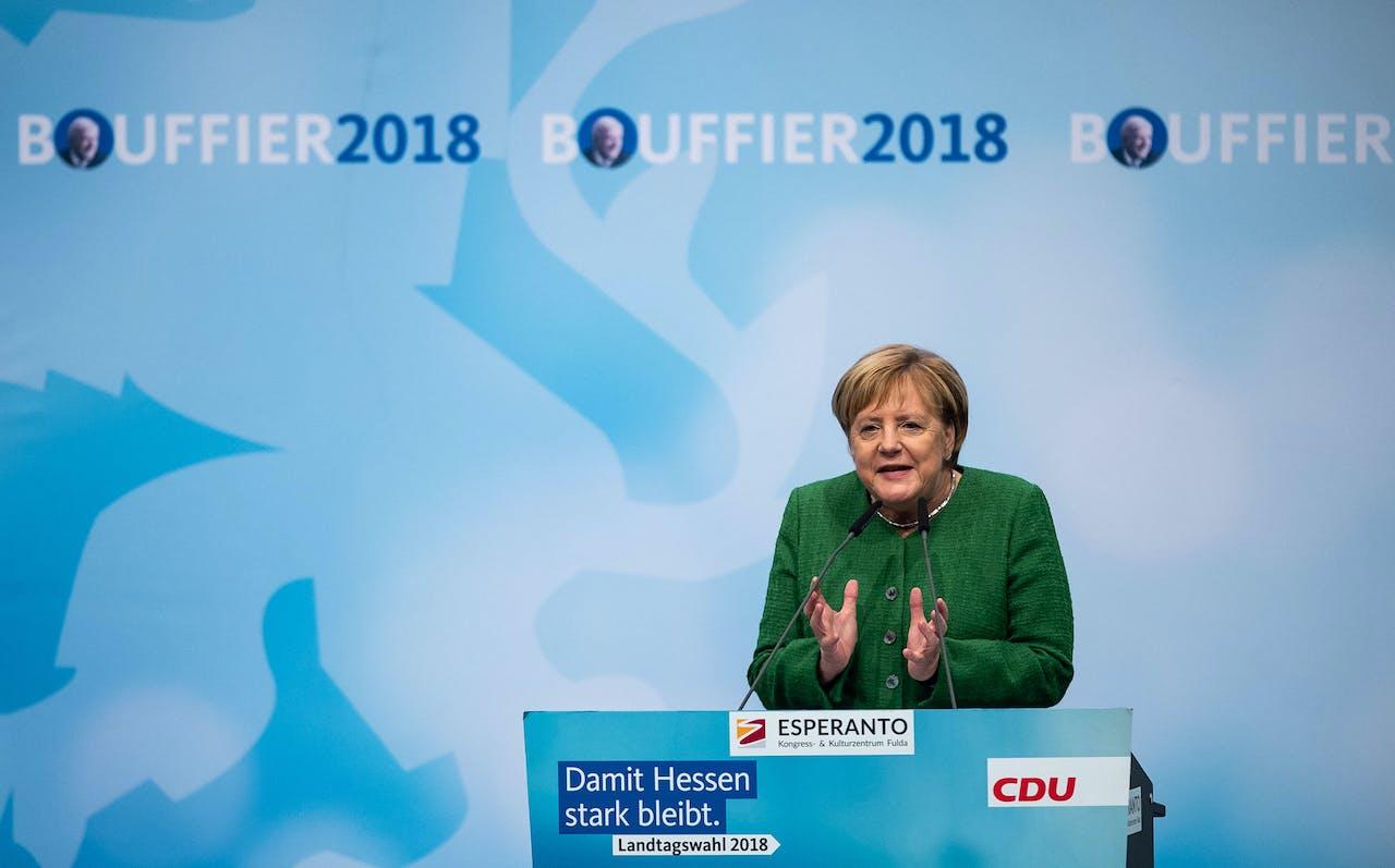 Merkel spreekt in Hessen.