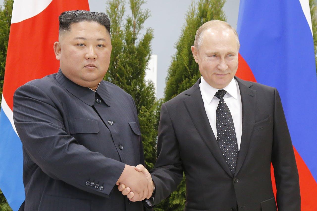 President Vladimir Poetin en de Noord-Koreaanse leider Kim Jong-un tijdens een ontmoeting op 25 April 2019.