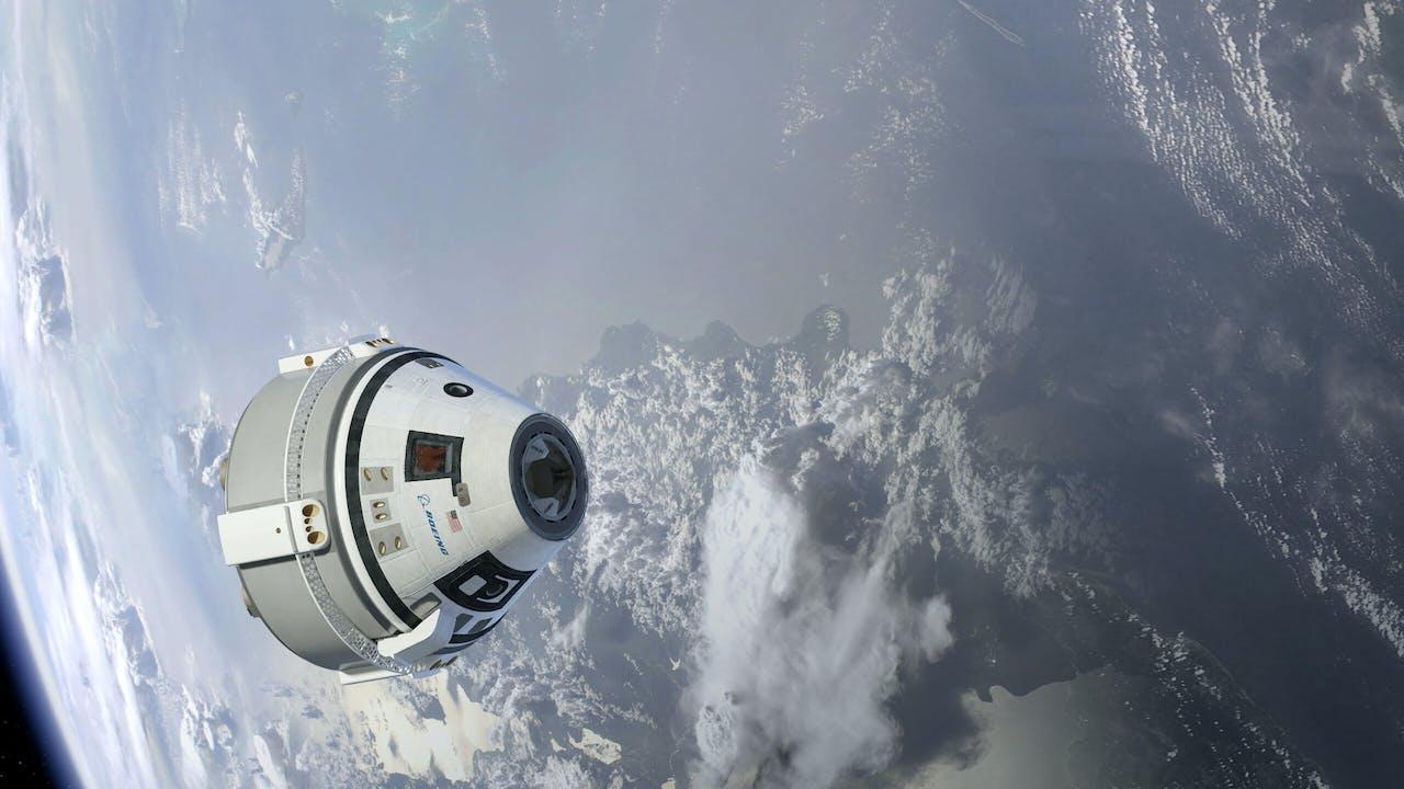 Een concept van de Boeing Starliner. Een ruimteschip dat mensen naar het ISS moet gaan vervoeren.
