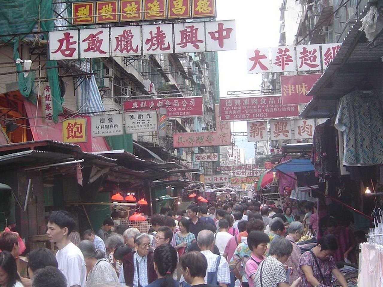Drukke straat in China