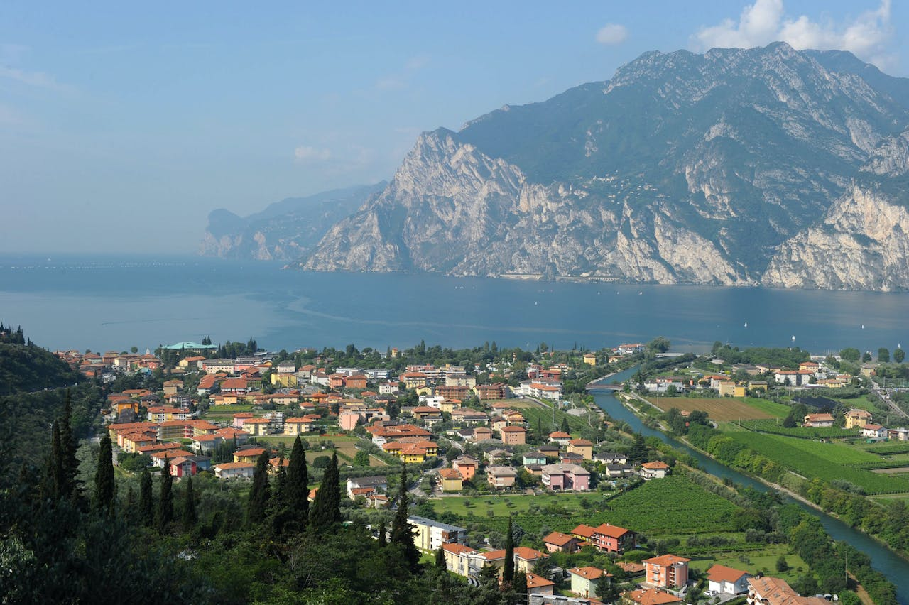 2011-07-08 10:25:10 The village of Nago Torbole, northern Italia, near the Lake Garda, pictured on July 8, 2011. AFP PHOTO / CHRISTOF STACHE CHRISTOF STACHE / AFP