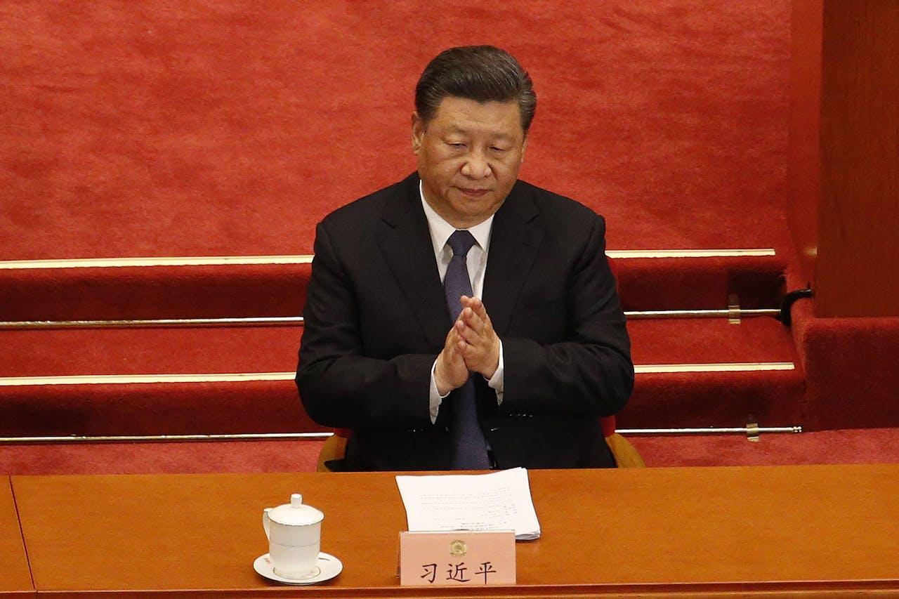 De Chinese president Xi Jinping bij de opening van het Volkscongres