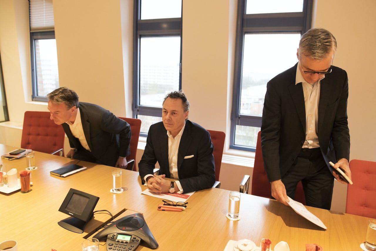 Ralph Hamers (CEO), Koos Timmermans (CFO) en Steven van Rijswijk (CRO). ANP OLAF KRAAK