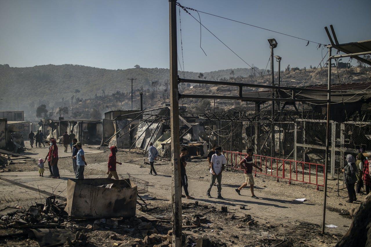 Het afgebrande vluchtelingenkamp Moria op Lesbos