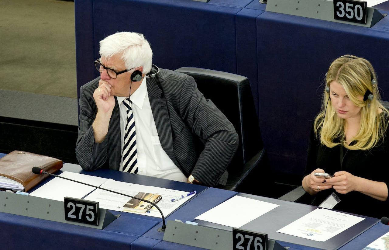 Bas Belder, Europarlementariër van de SGP, in de plenaire zaal van het Europees parlement in Straatsburg.