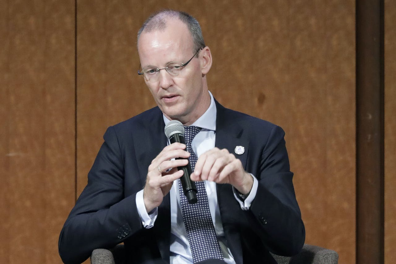 """Klaas Knot, president of De Nederlandsche Bank NV, speaks at the Group of 20 high-level seminar on financial innovation """"Our Future in the Digital Age"""" on the sidelines of the G20 finance ministers and central bank governors meeting in Fukuoka on June 8, 2019. (Photo by Kiyoshi Ota / POOL / AFP)"""