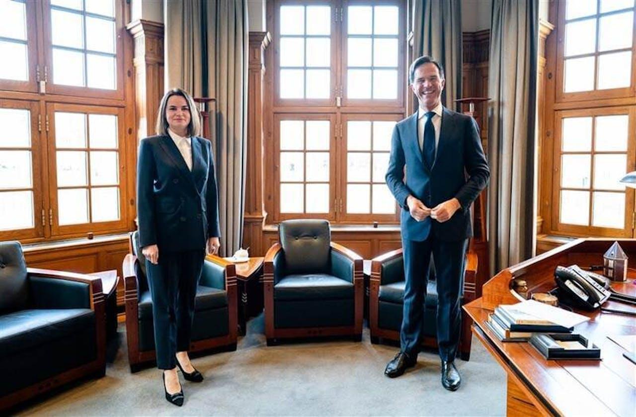 Svetlana Tikhanovskaya meets Dutch prime minister Mark Rutte in his office in The Hague last november.