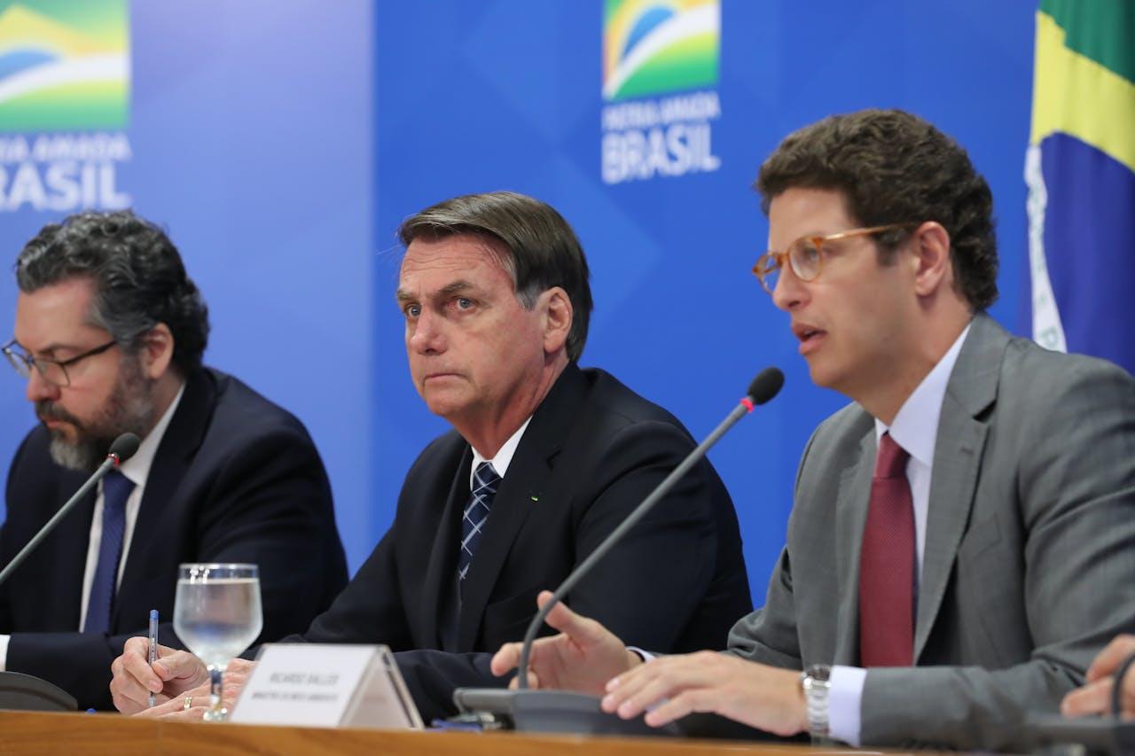 Bolsonaro (midden) eerder dit jaar.