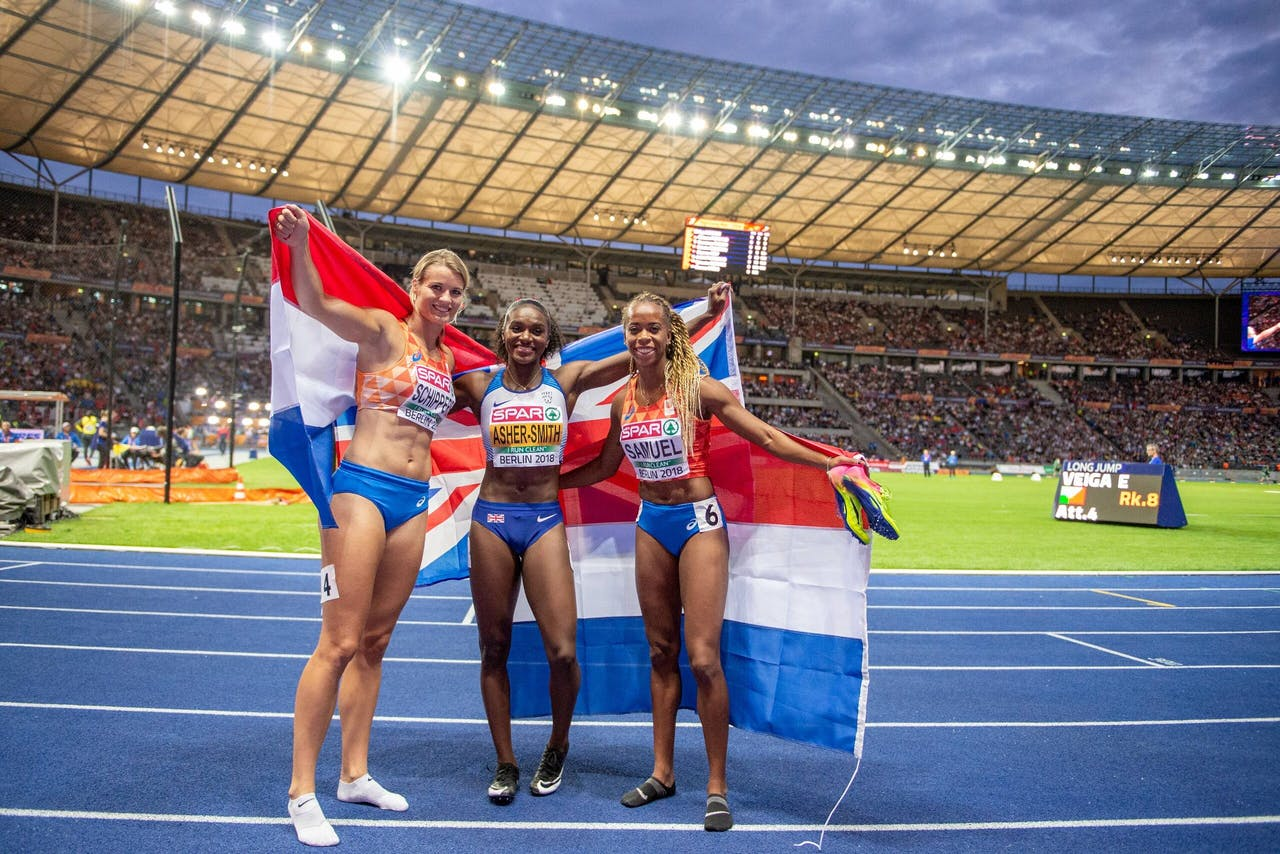 Daphne Schippers (NED), Dina Asher-Smith (GBR) and Jamile Samuel (NED).