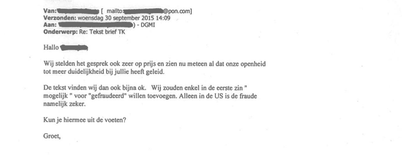 De mail die Pon aan het ministerie stuurde.