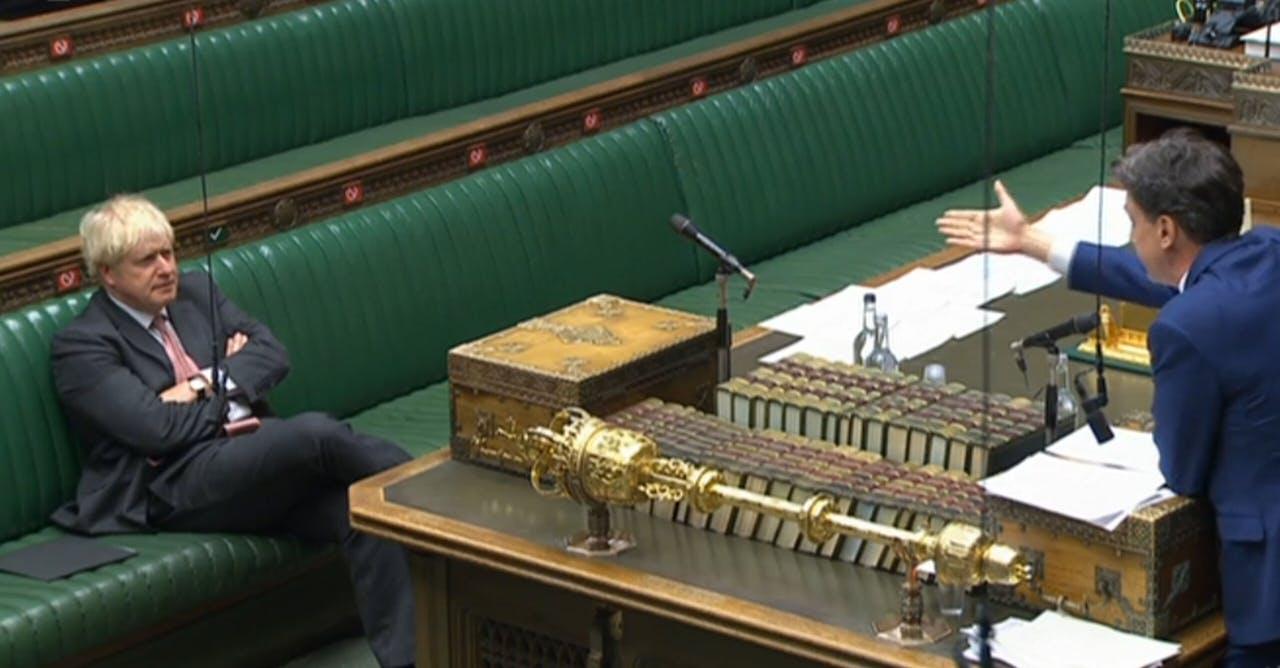 Premier Boris Johnson in het Lagerhuis