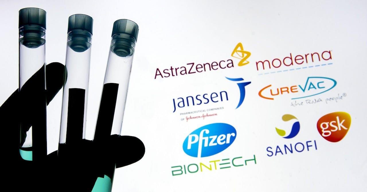 2020-11-25 15:36:20 ILLUSTRATIE - Een illustratieve foto van reageerbuisjes met een medicijn of vaccin van diverse merken tegen het COVID-19 coronavirus. ANP KOEN VAN WEEL