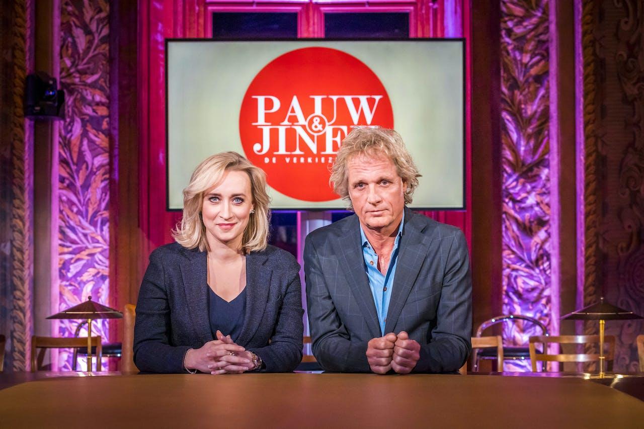 Jeroen Pauw en Eva Jinek voorafgaand aan de eerste uitzending van 'Pauw & Jinek: De Verkiezingen'. Het programma van BNNVARA en KRO-NCRV trekt in aanloop naar de verkiezingen zeven dagen door het land.