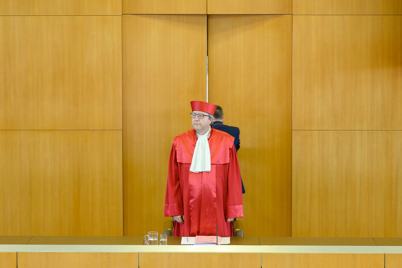 The chairman of the German constitutional court AndreasVosskuhle speaks on May 5, 2020 at the Constitutional court in Karlsruhe