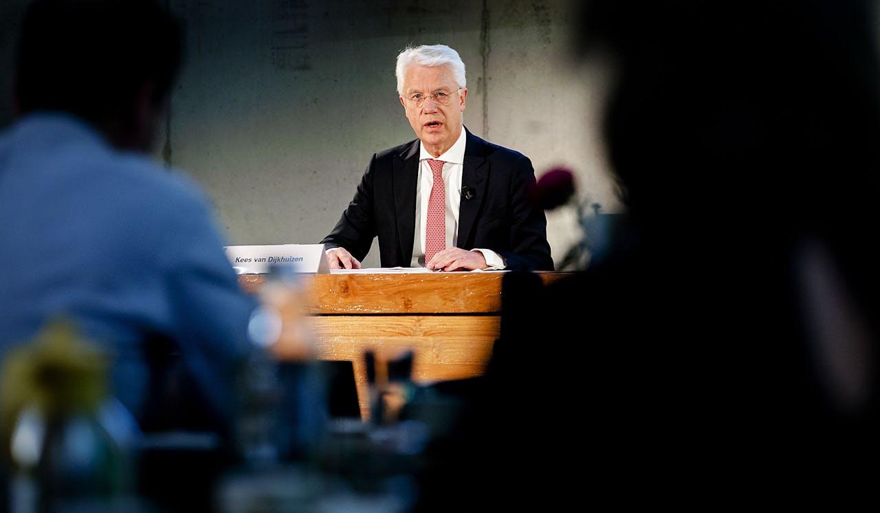 CEO Kees van Dijkhuizen tijdens de presentatie van de jaarcijfers van ABN Amro.