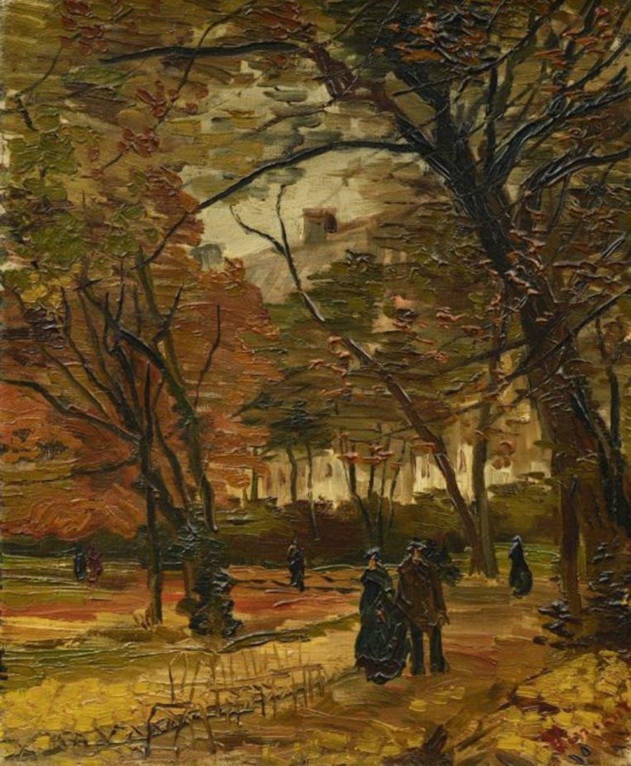 Ook een ander schilderij van Van Gogh werd geveild: Mensen wandelend in een park in Parijs (1886)