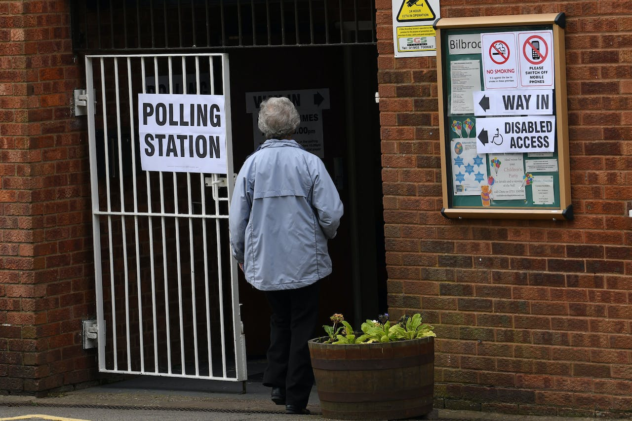 Voters arrive at a polling station at a community centre in Featherstone, Wolverhampton, north west England as local council elections get underway on May 2, 2019. (Photo by Paul ELLIS / AFP)