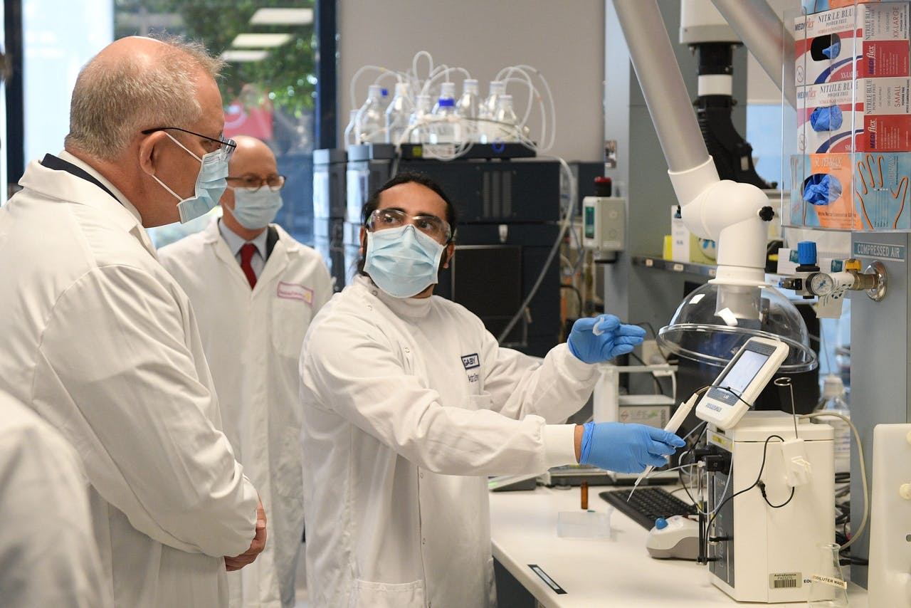 De Australische premier Morrison bezoekt de laboratoria van AstraZeneca in Sydney