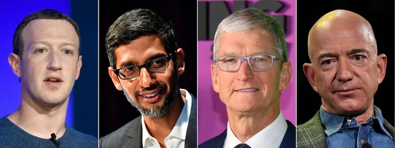 Techbazen op een rijtje: Zuckerberg van Facebook, Pichai van Google, Cook van Apple en Bezos van Amazon