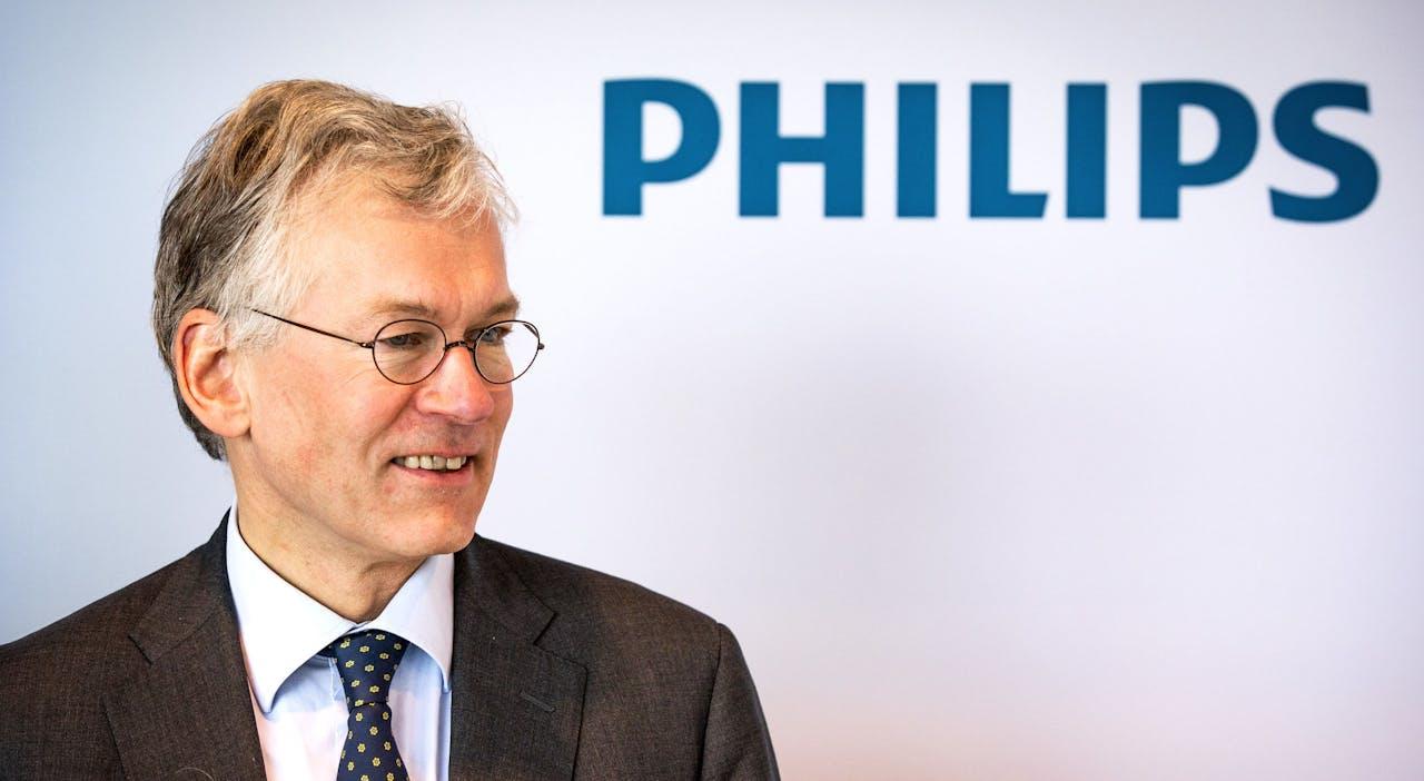 2018-01-30 11:37:27 AMSTERDAM - CEO Frans van Houten tijdens de presentatie van de jaarcijfers van elektronicaconcern Philips. ANP REMKO DE WAAL