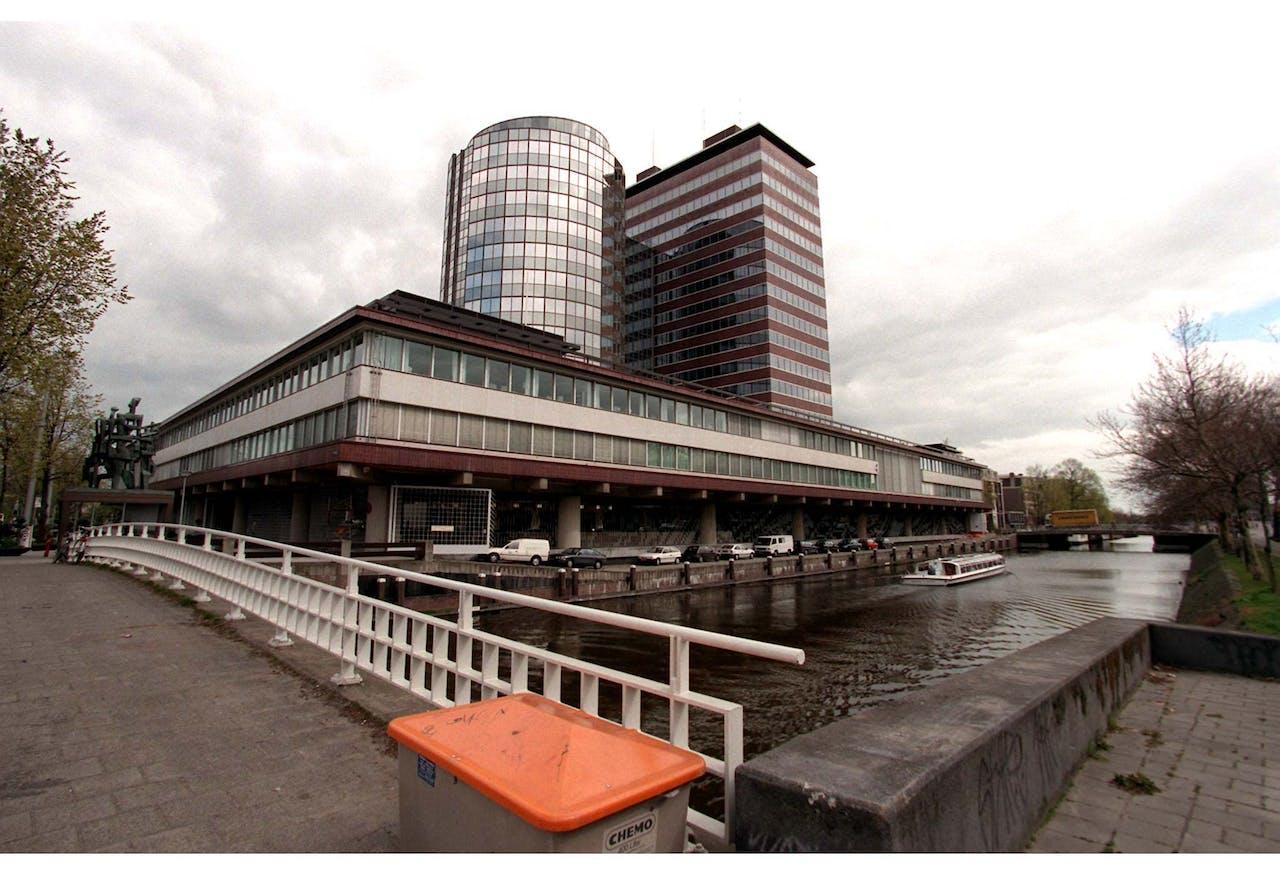 1997-04-24 15:01:25 De Nederlandsche Bank (DNB) aan het Frederiksplein, het gebouw waar op 16 en 17 juni de Europese regeringsleiders en het Franse staatshoofd bijeen komen voor de Eurotop 1997. De Eurotop is het sluitstuk van het Nederlands voorzitterschap van de EU dat op 1 januari begonnen is.
