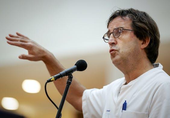 2020-09-28 14:04:31 ROTTERDAM - Diederik Gommers, voorzitter van de Nederlandse Vereniging voor Intensive Care tijdens het wekelijkse persmoment in het Erasmus MC.