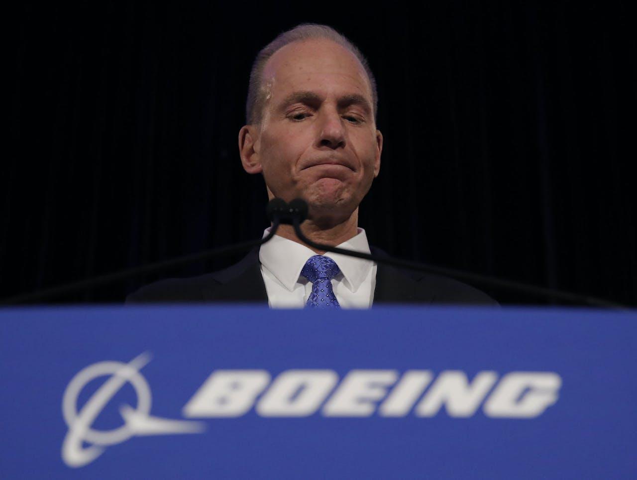Boeing Chief Executive Dennis Muilenburg Photo by JOHN GRESS / POOL / AFP