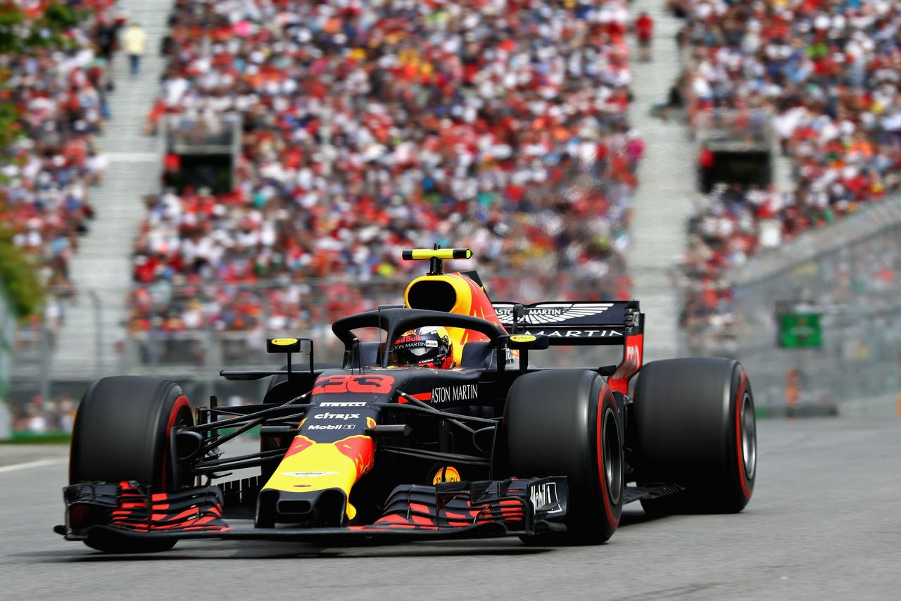 Max Verstappen in actie tijdens de Grand Prix van Canada