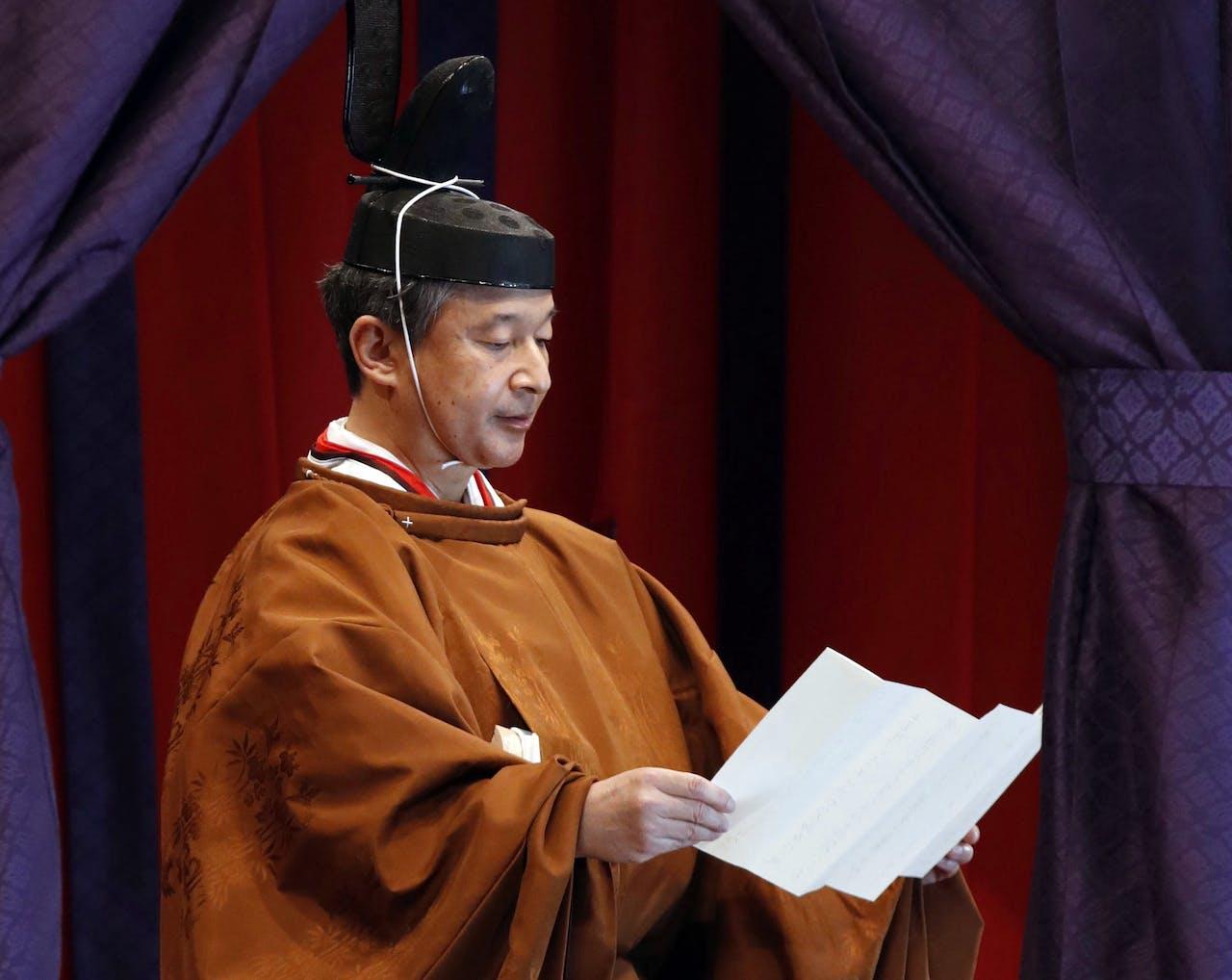 De Japanse keizer Naruhito houdt een speech in het keizerlijk paleis in Tokio