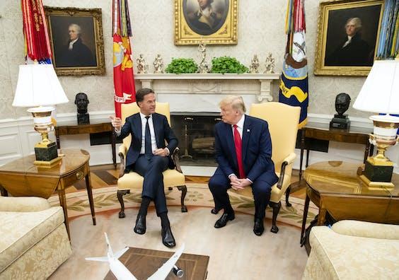Premier Mark Rutte en president Donald Trump in het Witte Huis.