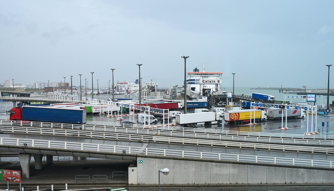 2019-09-24 12:55:40 A picture taken on September 24, 2019 during a day of test in case of Brexit shows a view of the terminal Ferry in Calais, northern France. French customs officials on Tuesday carried out their third dress rehearsal for a no-deal Brexit in as many weeks, submitting trucks in Calais to border checks, which exporters fear could act as a brake on cross-Channel trade. DENIS CHARLET / POOL / AFP