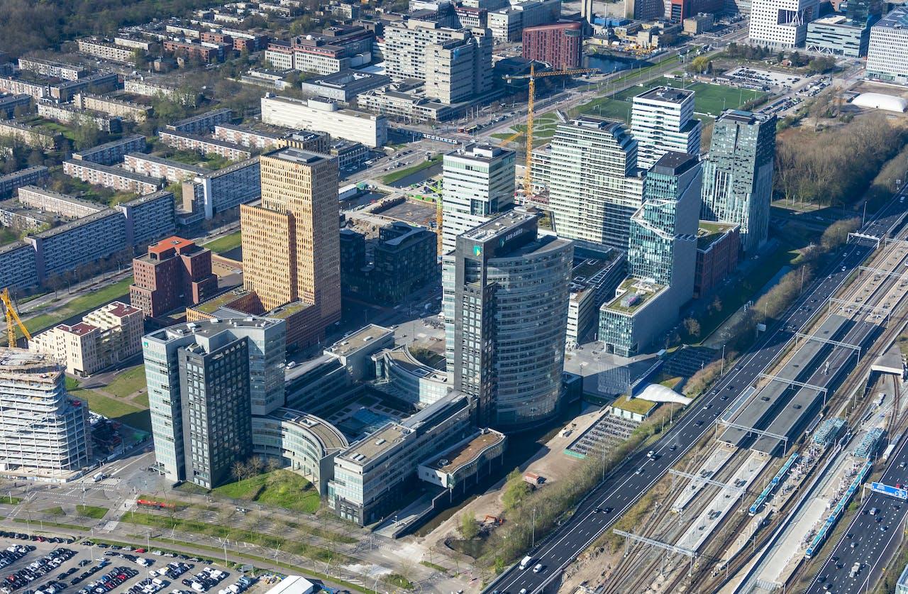 Luchtfoto van de Amsterdamse Zuidas