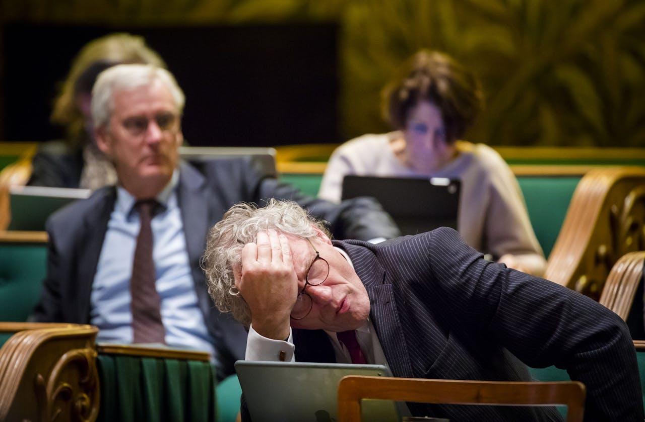 2018-01-30 21:08:33 DEN HAAG - Eerste Kamerlid Thom de Graaf (D66) tijdens het debat in de Eerste Kamer over het initiatiefvoorstel om een actief donorregistratiesysteem in te voeren. ANP BART MAAT
