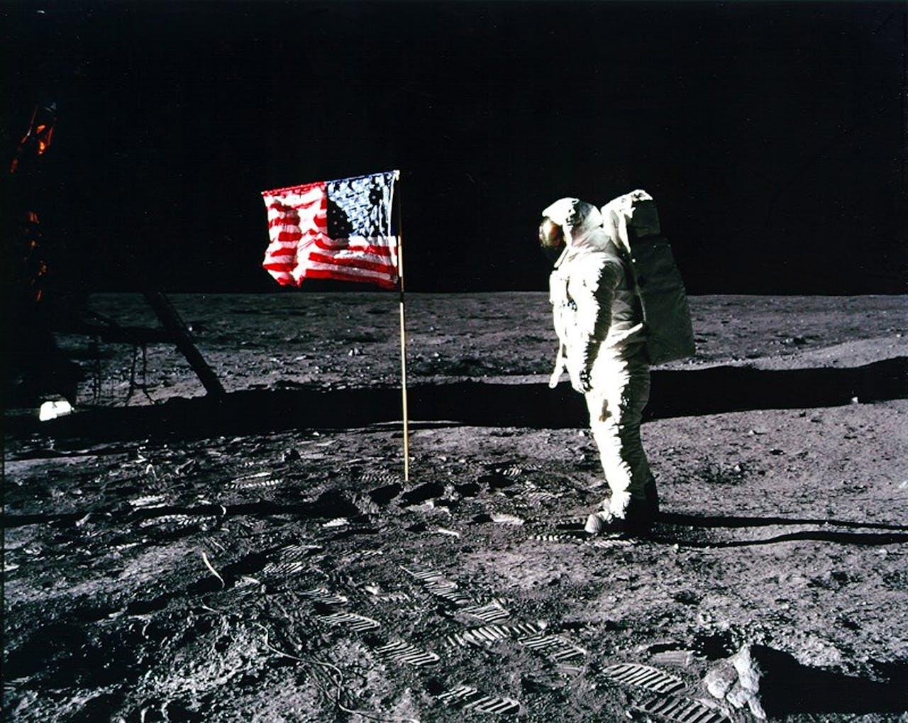 20 juli 1969 - Edwin 'Buzz' Aldrin, de tweede man op de maan.