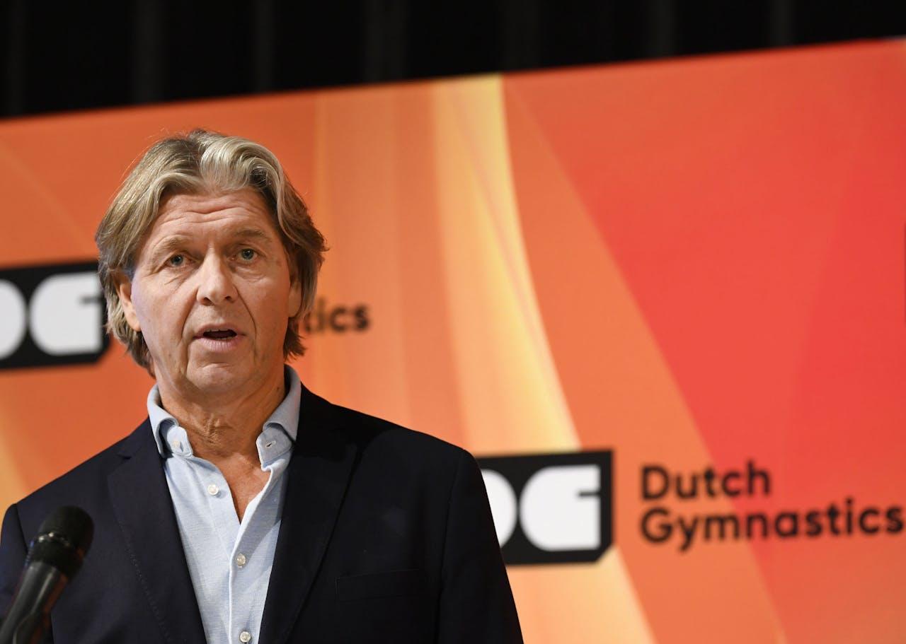 Technisch directeur Mark Meijer van de KNGU tijdens de persbijeenkomst